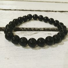 bracelet with beads, onyx, 8mm, DaWanda, koralesy