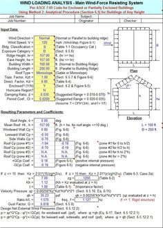 by Alex Tomanovich - is a spreadsheet program written in MS-Excel for the purpose of wind loading analysis for buildings and structures per the ASCE Code. Civil Engineering Design, Civil Engineering Construction, Engineering Tools, Construction Cost, Residential Construction, Building Design Software, Trailer Casa, Concrete Mix Design, Construction Estimating Software