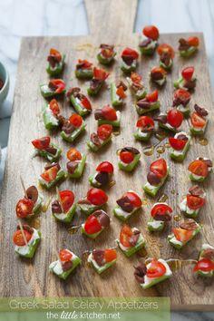 Greek Salad Celery Appetizers // adorable, healthy, fresh via the little kitchen