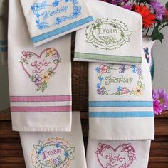 Thoughtful Words with Pretty Flowers on Bright Tea Towels. Hand Embroider These Designs on our Tea Towels with coordinating Bright Stripes on 100% Cotton Towels.
