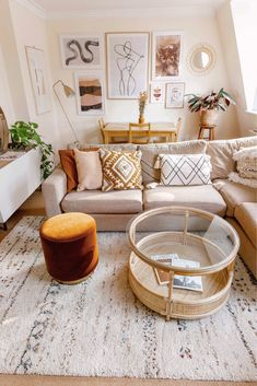 Shop all of the details of this boho chic living room and learn how to decorate a home when you rent... #liketkit