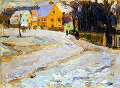 Painter Wassily Kandinsky. Painting. Schwabing - Nikolaiplatz. 1902 year