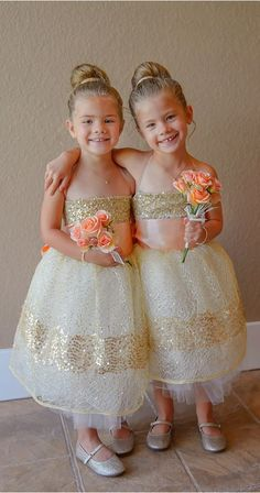 ball gown flower girl dresses,light champagne dress for flowergirl,cute sequins wedding party dress,tulle flower girl dress Lace Flower Girls, Lace Flowers, Flower Girl Dresses, Baby Flower, Wedding With Kids, Our Wedding, Dream Wedding, Cruise Wedding, Lace Wedding