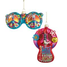 KSA Pack of 12 Flower Power Retro Hippie Sunglasses and Guitar Christmas Ornaments