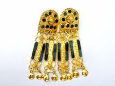 Art Deco Green & Black Enamel Earrings Drop Dangle Long Gold Tone Screwback #TheJewelryLadysSTore #DropDangle
