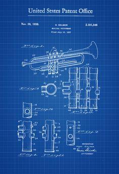 Trumpet Patent   Patent Print Wall Decor Music Poster Music Art By  PatentsAsPrints