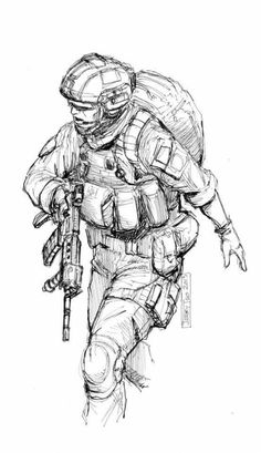 . Military Drawings, Military Tattoos, Drawing Reference Poses, Art Reference, Drawing Sketches, Art Drawings, Soldier Drawing, Marine Tattoo, Character Art
