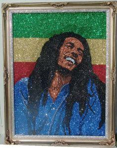 Glitter Art Bob Marley Bob Marley Painting, Glitter Art, Black Art, Mona Lisa, Gallery, Artist, Artwork, United States, Buttons