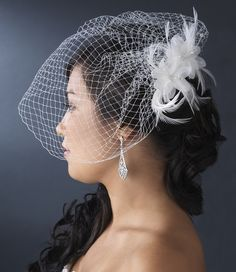 White Birdcage Wedding Veil with Floral Feather Fascinator