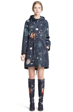 Valentino Cosmos Print Hooded Coat available at Style Casual, My Style, Estilo Indie, Raincoat Outfit, My Sun And Stars, Nordstrom, Raincoats For Women, Pinterest Fashion, Street Style