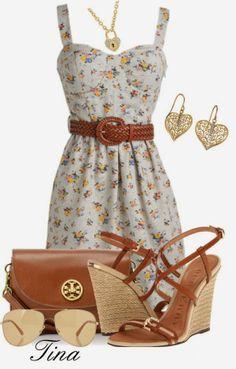 Spring Outfits | Floral Dress  Floral dress, Burberry wedges, Tory Burch bag, GIORGIO ARMANI sunglasses  by matulik77