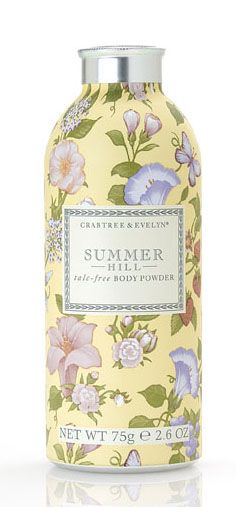 Crabtree & Evelyn - My three faves of theirs - Savannah Garden/Nantucket Briar and this - Summer Hill.  I use the Nantucket Briar powder on my mattress pad between sheet changes.