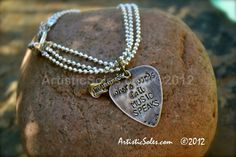 Metal Stamped Guitar Pick Bracelet  Where words by ArtisticSoles, $20.00
