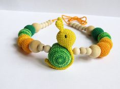 Crochet snail necklace, Nursing necklace with toy, Babywearing necklace with…