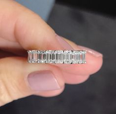 Engagement Band Ring Concierge Emerald Cut Diamond Eternity Band - This classic emerald cut diamond eternity band makes a perfect wedding band or right hand ring. Made to order Platinum or Gold with diamonds in all sizes and qualities. Diamond Bands, Diamond Wedding Bands, Diamond Jewelry, Diamond Cuts, Wedding Rings, Emerald Cut Wedding Band, Silver Jewelry, Wedding Band Styles, Diamond Sizes