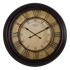 Studio Design Home 29 inch Traditional Chateau Wall Clock in Dark Brown Shabby Chic Farmhouse, Vintage Shabby Chic, Brown Home Decor, Wall Clock Online, Thing 1, Statement Wall, Gold Tips, Home Decor Outlet, Modern Wall