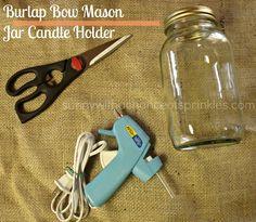 Burlap Bow Mason Jar Candle Holder  #CGC #CleanHands
