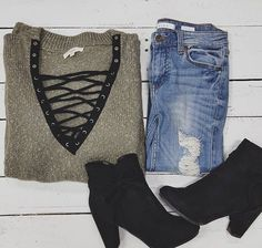 Lace up sweater from UOI Boutique!!