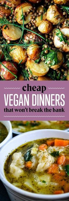 26 Budget-Friendly Dinners With No Meat Or Dairy 26 Cheap Vegan Dinners That Won't Break The Bank - Delicious Vegan Recipes Vegetarian Dinners, Vegan Dinner Recipes, Veggie Recipes, Whole Food Recipes, Cooking Recipes, Healthy Recipes, Vegan Vegetarian, Cheap Vegan Meals, Cooking Games