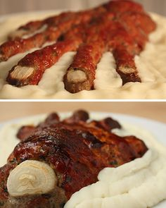 Meatloaf hand. I stretched the fat from bacon across the top of the hand in peices and it really, really looked fleshy.   I completed the garnish with a lil cooked brown rice to mine to suggest maggots.  Next time I'll use a ground beef with less fat because I had more shrinkage than I desired but it still turned out fab!  Oh and I'll cut the onion nails bigger than I think I need.