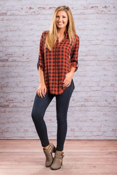 """""""Checkered Past Top, Rust"""" We know you can't stop with the plaid! Neither can we! It's just so.... fall! This rusty orange and navy plaid will the perfect addition to your already extensive plaid collection! #newarrivals #shopthemint"""