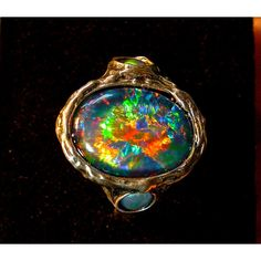 Vivid Australian Opal ring. Top Gem Grade Natural Opal Triplet. Large... ($405) ❤ liked on Polyvore featuring jewelry, iridescent jewelry, 14k jewelry, gemstone jewelry, 24k gold jewellery and handcrafted jewelry