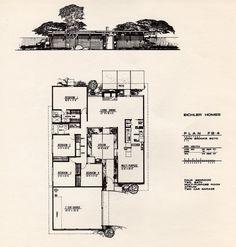 Eichler Homes of Foster City brochure: Leaflet 3 - Plan by John Brooks Boyd Joseph Eichler, Vintage House Plans, Modern House Plans, House Floor Plans, Atrium, Eichler Haus, Foster City, Mcm House, Tiny House