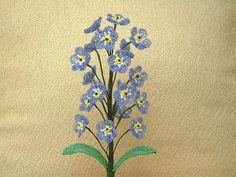 "Blue ""Forget Me Not"" ... French Beaded Flowers                                                                                                                                                      More"