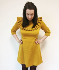 Tilly and the Buttons Mustard Yellow Freya Dress with Ruffle