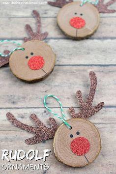 super Rudolf Christmas Craft: DIY Craft for Kids Kids Crafts easy diy christmas crafts for kids Christmas Decorations For Kids, Winter Crafts For Kids, Diy Christmas Ornaments, Holiday Crafts, Christmas Christmas, Reindeer Ornaments, Rudolph Christmas, Christmas Goodies, Wooden Reindeer