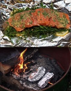 Layer herbs, lemon, and dijon mustard on salmon in tin foil and place directly in the fire for a quick and easy campfire dinner. #recipe