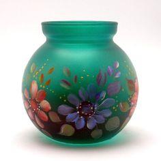 Hand Painted Glass Vase or Votive OOAK by PaintedDesignsByLona, $20.00