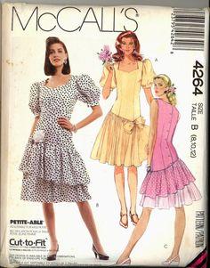 Uncut 1980s Asymmetrical Skirt Dress Dropped by VintagePatternsCo1