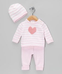 Look at this #zulilyfind! Pink Stripe Heart Knit Sweater Set - Infant #zulilyfinds