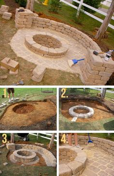 DIY fire pit designs ideas - Do you want to know how to build a DIY outdoor fire pit plans to warm your autumn and make s'mores? Find inspiring design ideas in this article. Diy Fire Pit, Fire Pit Backyard, Backyard Patio, Backyard Landscaping, Backyard Seating, Diy Patio, Large Backyard, Fire Pit Gazebo, Back Yard Patio Ideas