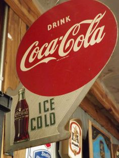 Vintage 1950's Coca Cola rare metal double flanged indoor/outdoor sign
