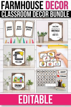 classroom decor This bright farmhouse classroom theme will look beautiful in any preschool, kindergarten and first grade classroom. The bright decorations and fun clipart will beautify Classroom Organization Labels, Teacher Toolbox Labels, Library Labels, Organizing Labels, Classroom Themes, Library Organization, Classroom Board, Chalkboard Classroom, Board Decoration