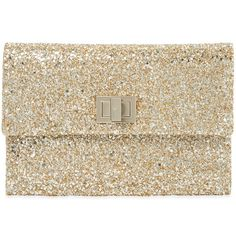 Anya Hindmarch Women's Valorie II Small Glitter Clutch - Gold ($219) ❤ liked on Polyvore featuring bags, handbags, clutches, gold, brown handbags, glitter purse, glitter clutches, gold clutches and gold glitter purse