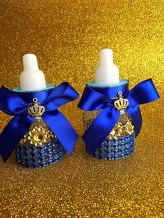 "12 small 3.5"" Royal blue Baby shower favors - Little prince blue and gold- royal…"