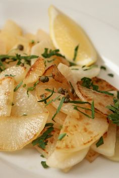 Caramelized Turnips with Capers, Lemon, and Parsley