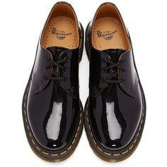 Dr. Martens Black Patent 1461 Derbys (5,570 DOP) ❤ liked on Polyvore featuring shoes, oxfords, round toe shoes, black patent leather oxfords, dr martens oxford, patent shoes and welted shoes