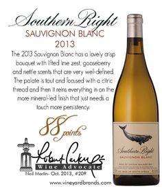 Southern Right Sauvignon Blanc 2013 - 88 points - Robert Parker's Wine Advocate