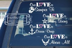 Items similar to Military decal: Our love is.Army, Navy, Marines, Air Force, Coast Guard and National Guard etc on Etsy Usmc Love, Marine Love, Military Love, National Guard Girlfriend, Military Girlfriend, Navy Life, Navy Mom, Coast Guard Wife, Air Force Love