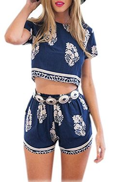 Vintage Style Women 2 Pcs Leaf Pattern Bohemian Crop Tops+Shorts Set