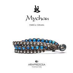 Mychau 2+1 - Bracciale Vietnam originale realizzato con pietre naturali Agata Blu