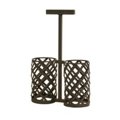 "16"" Trendy Antique Finish Wrought Iron Wine Bottle Holder by CC Home Furnishings. $51.99. 16"" Trendy Antique Finish Wrought Iron Wine Bottle Holder-Tabletop Wine Holder by Artist Carolyn KinderItem #10820Trendy hand crafted wine bottle holder features an intricate antique finish and unique cross designHolds (2) bottles of wineApproximate dimensions: 7.5""H (16""H including handle) x 10.25""W x 4.25""DMaterial(s): wrought iron-. Save 16% Off!"