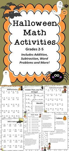 Halloween Math Activities Includes Word Problems, Addition, Subtraction and MORE!