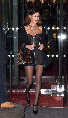 Bella Hadid's Hottest Looks of All Time - Bella Hadid is seen leaving the Royal Monceau hotel in Paris with Jesse Jo Stark going to a party at Le Carman where Jesse Jo Stark will perform. Bella Hadid Outfits, Bella Hadid Style, Look Fashion, Girl Fashion, Fashion Outfits, Womens Fashion, 90s Fashion, Dress Fashion, Paris Fashion