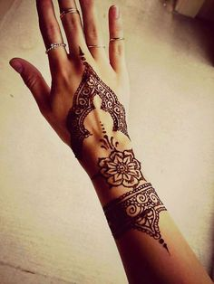 40 Delicate Henna Tattoo Designs - now this would make a gorgeous hand tattoo #HennaTattooIdeas