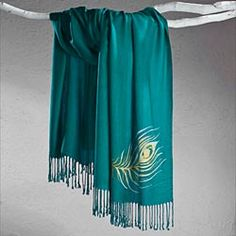 Teal Peacock Feather Scarf